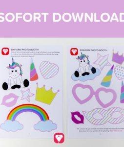 Einhorn Photo Booth für den Kindergeburtstag zum Download