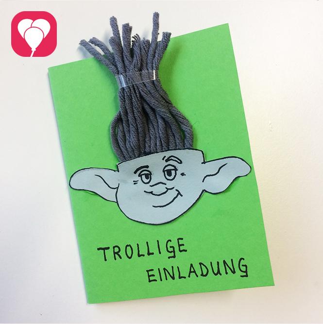 Trolls Vorlage Einladungskarten