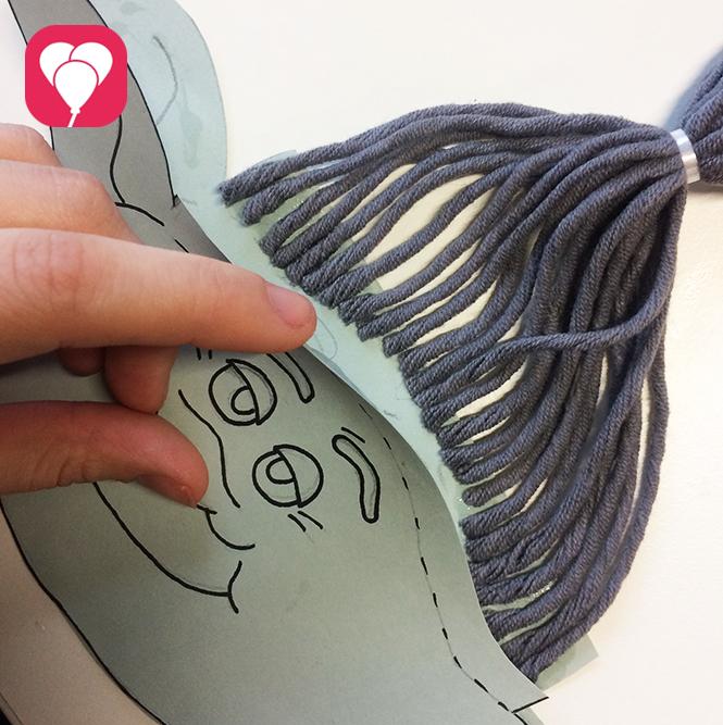 Trolls Vorlage Haare ankleben 2