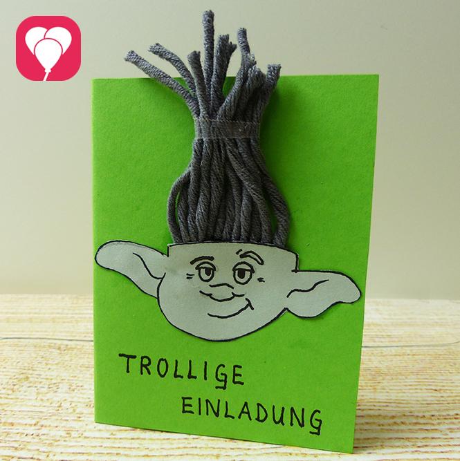 Trolls Vorlage Mini Troll Einladungskarte