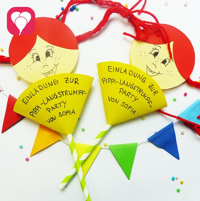 kunterbunte pippi langstrumpf einladungen - balloonasblog, Einladung