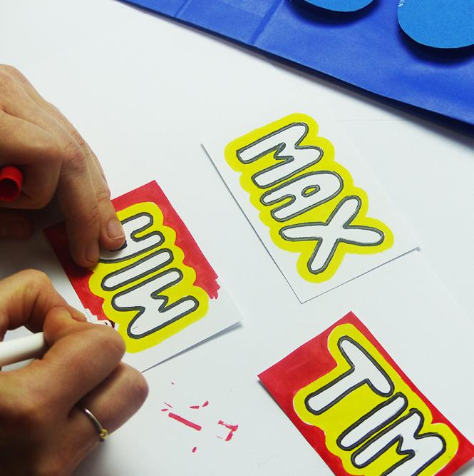 Lego Geschenktüten Namensschilder