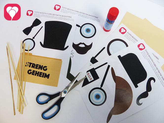Detektiv Geburtstag Material für Photo Booth Set