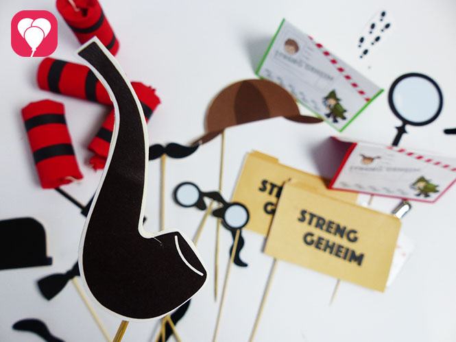 Detektiv Geburtstag DIY Photo Booth Vorlage