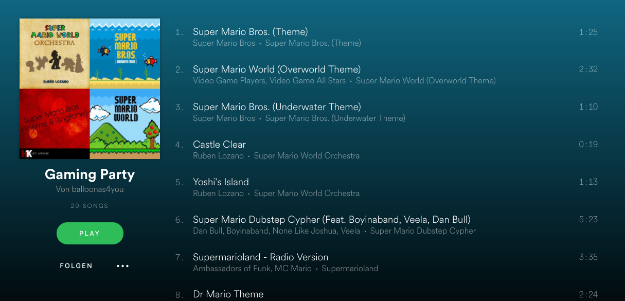 Videospiel Playlist Spotify
