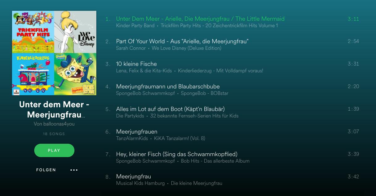 Spotify Arielle die Meerjungfrau Playlist