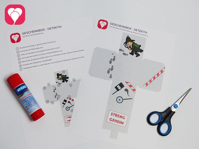 Detektiv Schachtel Faltvorlage und Material