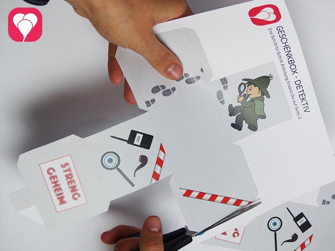 Detektiv Schachtel Faltvorlage ausschneiden