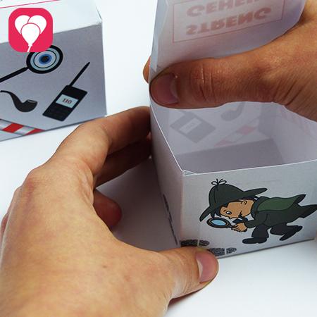 Detektiv Schachtel zusammenkleben