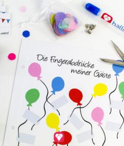 balloonas Geburtstagsbuch - Fingerabdrücke während der Party sammeln