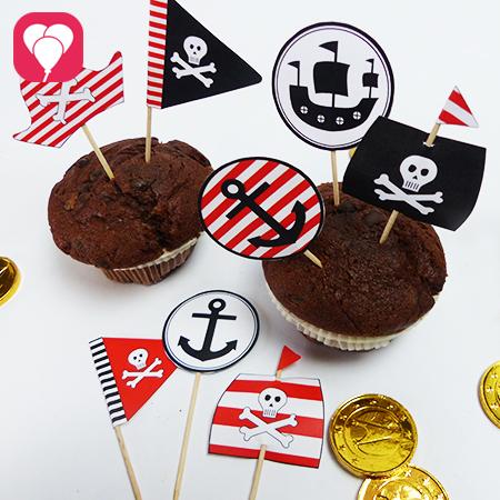 6 Piraten Deko Picker Vorlage