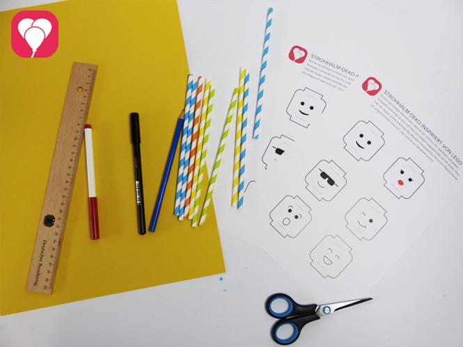 Lego Party - DIY Lego Strohhalme Material