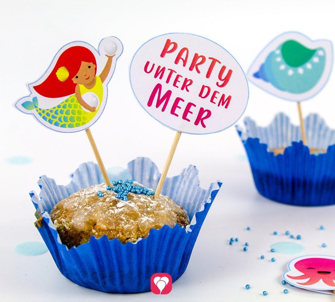 Süße Deko Picker für einen Meerjungfrau Geburtstag