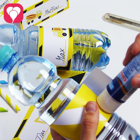 Tischdeko Motto Bauarbeiter - Flaschenetikett kleben