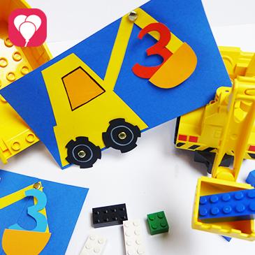Titelbild DIY Bagger Einladung Bauarbeiter Kindergeburtstag