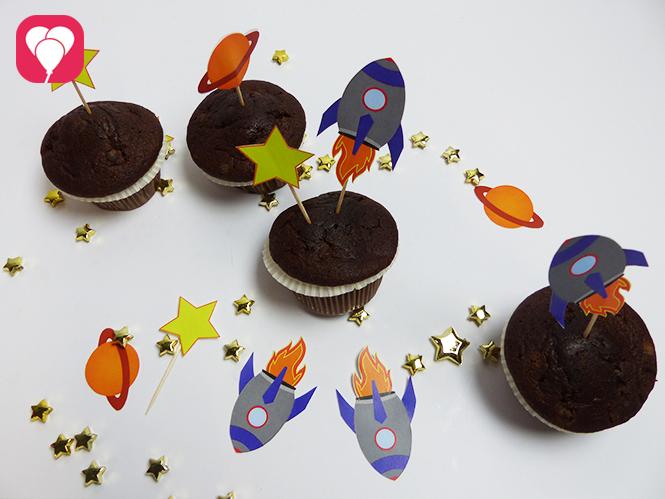 Astronauten Deko fuer Muffins Cupcakes Spiesse und Co