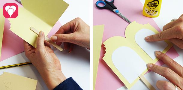 DIY Eis Einladung - Stiel ankleben und Innenkarte