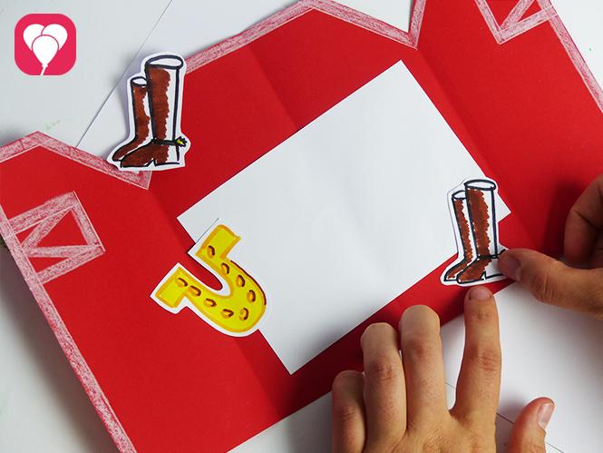 Pferde Geburtstag - Einladungskarte mit Stickern dekorieren