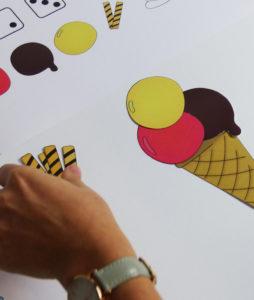 Eiscreme Würfel Spiel - Einzelteile
