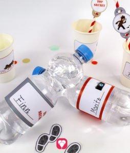 Detektiv Flaschenetiketten und Becherschilder - Detektiv Tischdeko