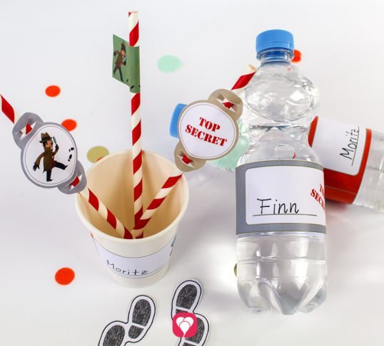 Detektiv Flaschenetiketten und Becherschilder - balloonas
