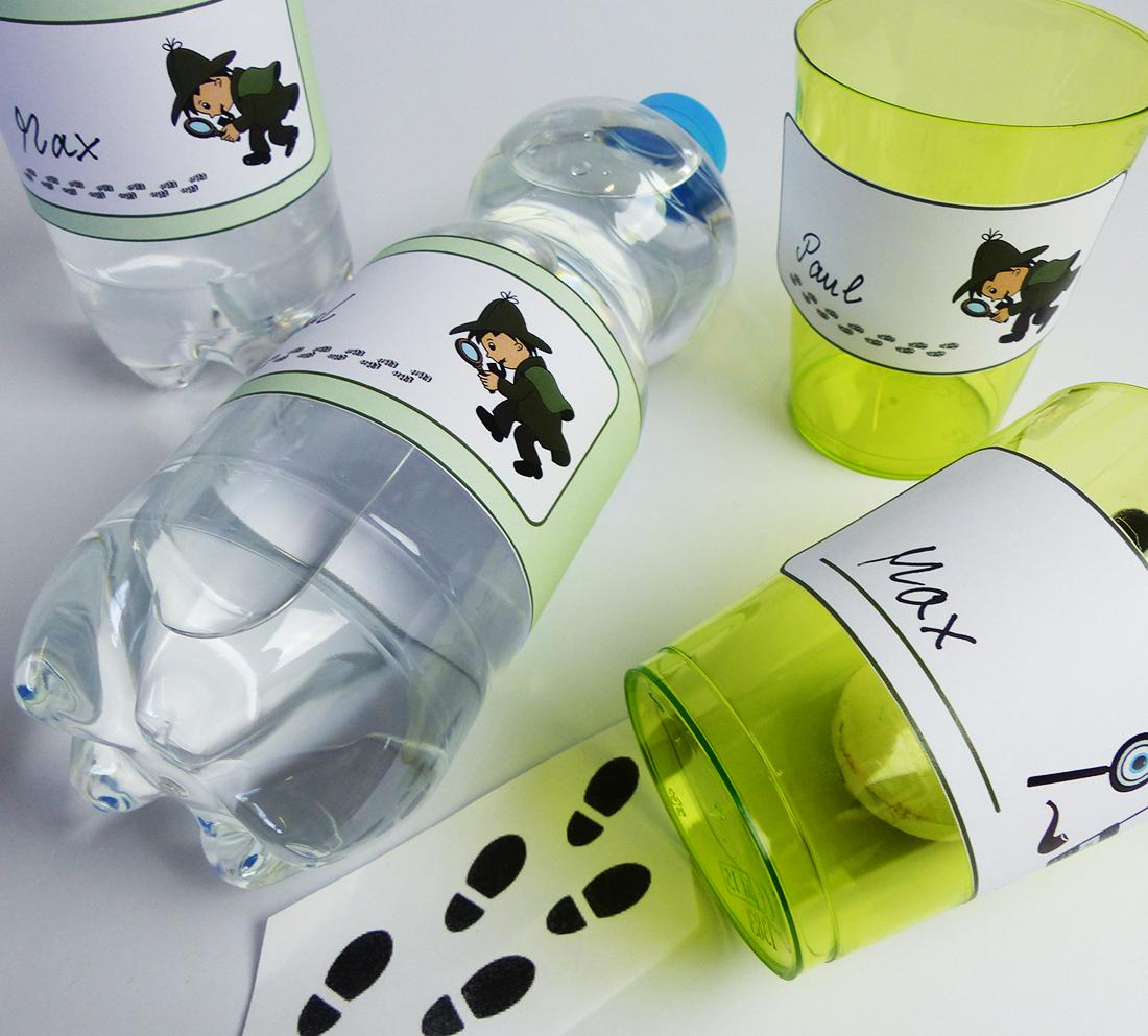 Flaschenetiketten und Becherschildern für den Detektiv Kindergeburtstag