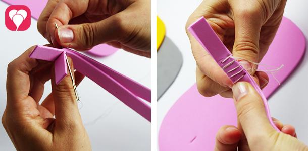 Flip Flops selber machen - Riemen aneinander nähen