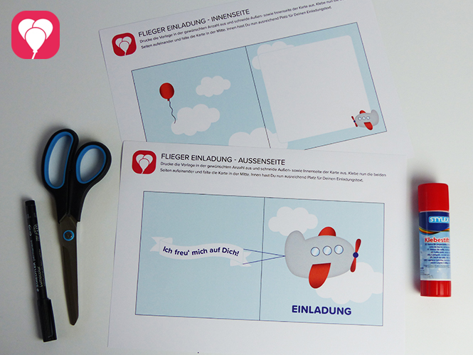 Motto Flugzeuge - Flieger Einladungskarte Vorlage und Material