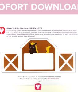 Pferde Einladung Vorlage zum Download Innenseite