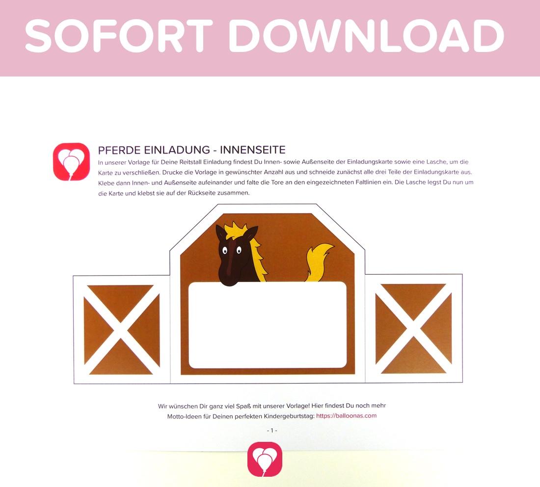 Pferde einladungskarten zum ausdrucken kostenlos