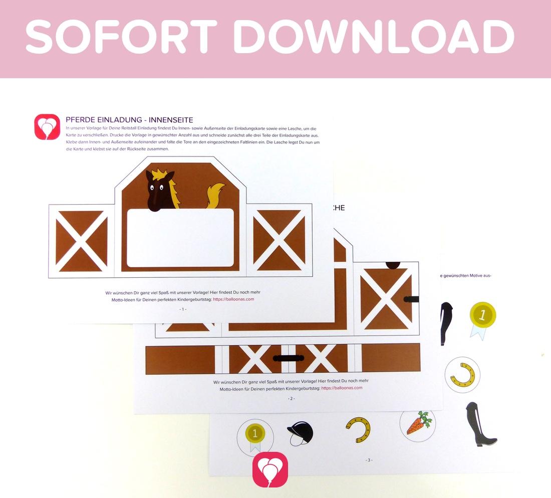 Ausgefallene Pferde Einladung Als Sofort Download Balloonasshop