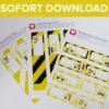 Bauarbeiter Flaschenetiketten & Becherschilder als Sofort-Download
