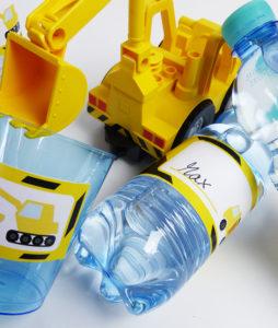 Bauarbeiter Flaschenetiketten & Becherschilder für die Party Baustelle