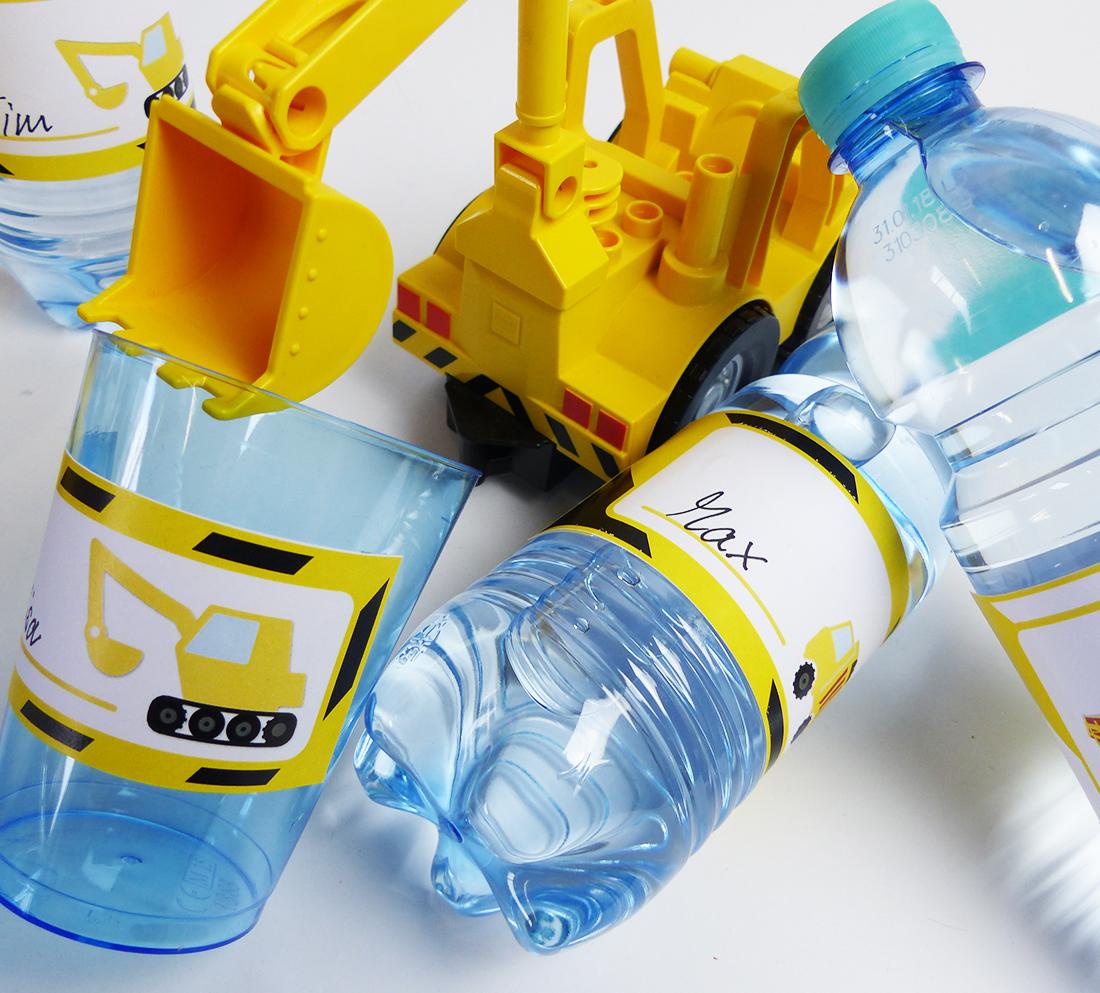 Bauarbeiter Flaschenetiketten und Becherschilder