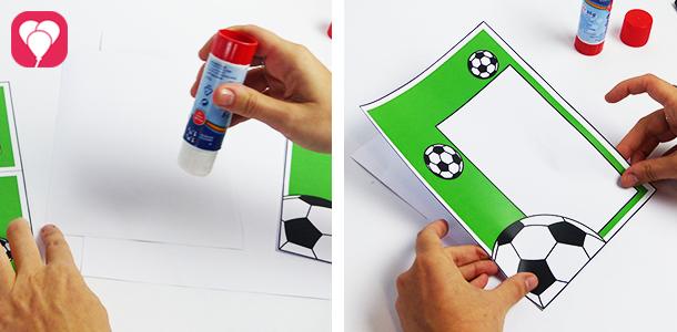 Fußball Einladungskarte mit Torwand - Innen- und Aussenseite zusammenkleben
