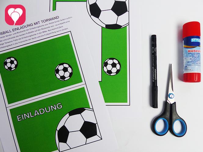 Fußball Einladungskarte mit Torwand - Material