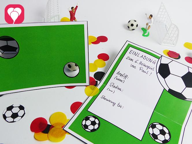 Fußball Einladungskarte mit Torwand