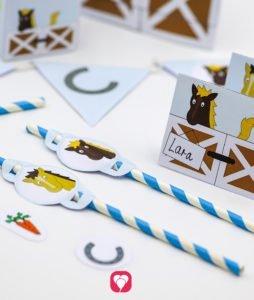 Pferde Tischkarten und Strohhalm Deko - balloonas