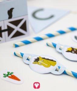 Deine fertigen Tischkarten und Strohhalme für die Pferde Geburtstagsfeier