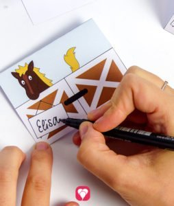 Pferde Tischkarten und Strohhalm Deko - Tischkarten beschriften