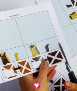 Pferde Tischkarten und Strohhalm Deko - ausschneiden
