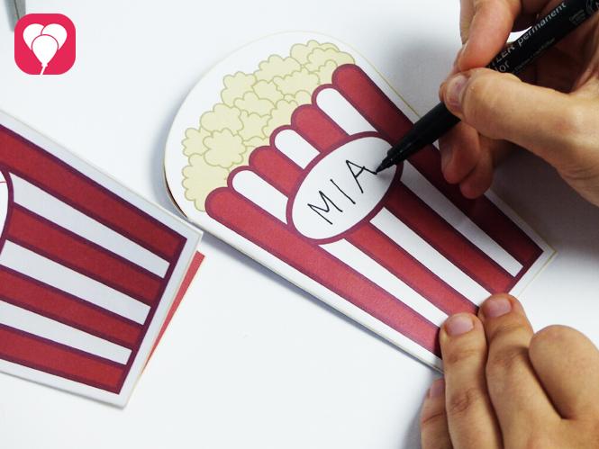 Popcorn Einladung - Feld beschriften