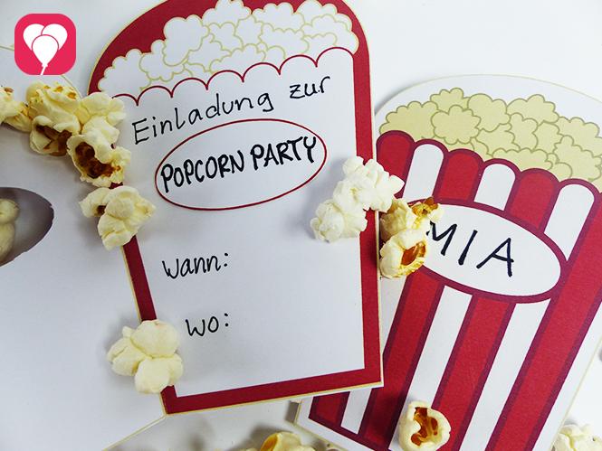 Popcorn Einladung Innenseite