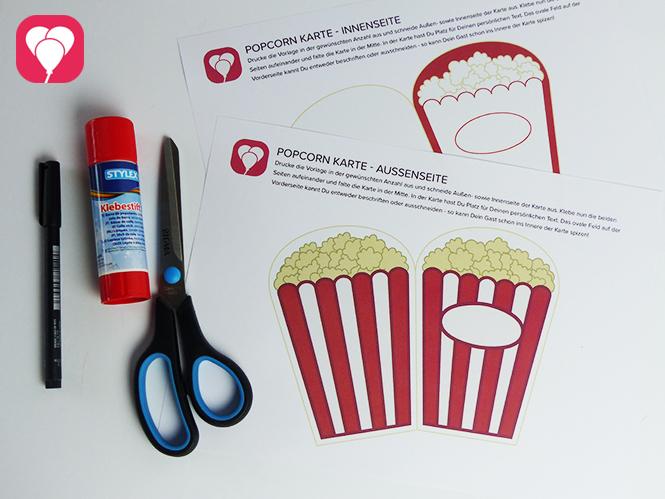 Popcorn Einladung Material und Vorlage