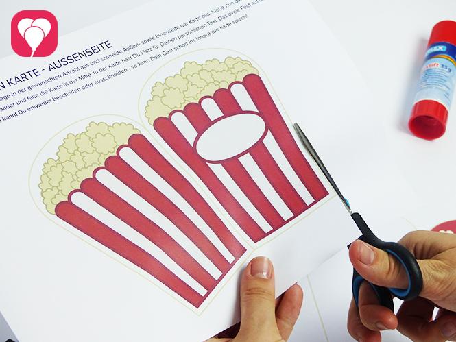 Popcorn Einladung - Vorlage ausschneiden
