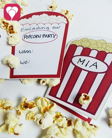 Popcorn Einladung für Kino Geburtstag