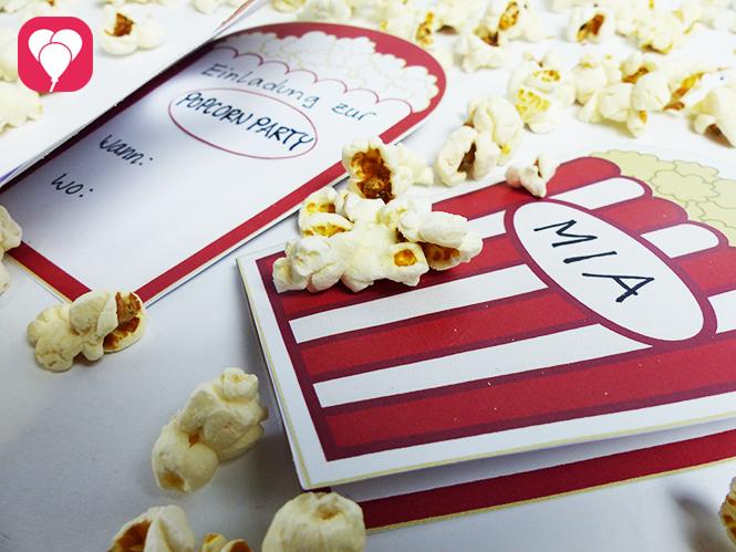Popcorn Einladung zum Kino Geburtstag