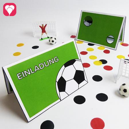 Fussball Einladungskarte mit Torwand