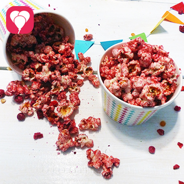 Rosa Popcorn als Party Snack