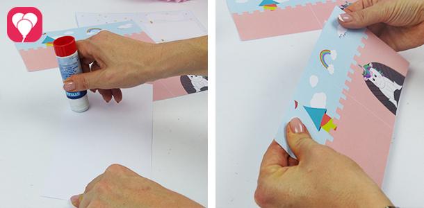 Einhorn Karte - Innen- und Aussenseite zusammenkleben